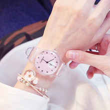 Fashion girl watch New Silicone Transparent jelly strap Candy Color Cute Student