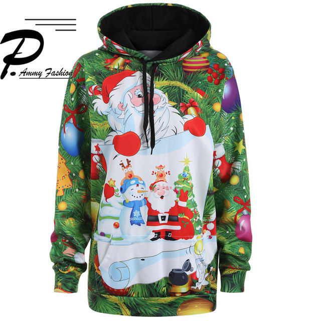 Christmas Plus Size 3d Print Snowman Hooded Sweatshirt Kangaroo Pocket Hoodie Long Sleeve lagenlook voguees Trend New year Tops