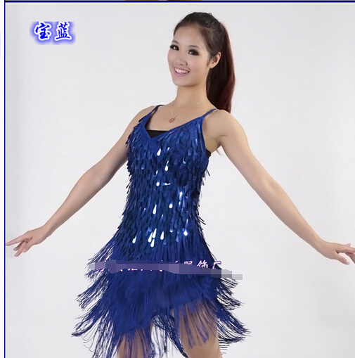 1pcs/lot free shipping woman Latin dance dress Sequined dresses performance tassel dancing dress