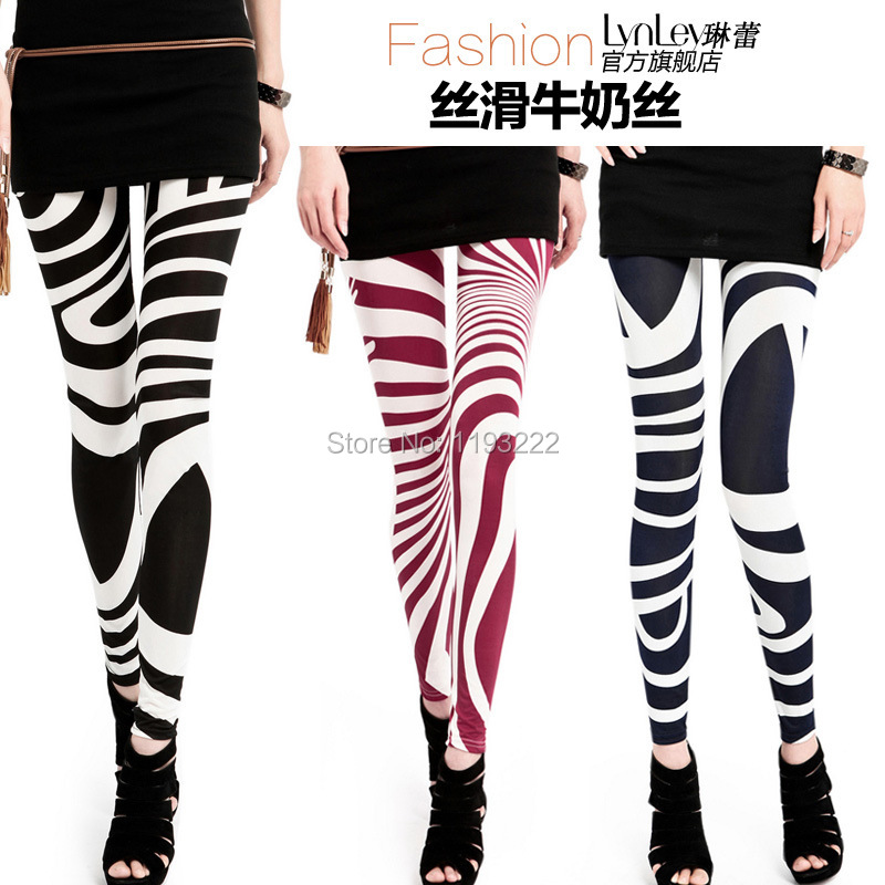 Pants Thin Leggings Funky Zebra Print Punk Slim Girl Striped Sexy Women Pencil Wild Lady