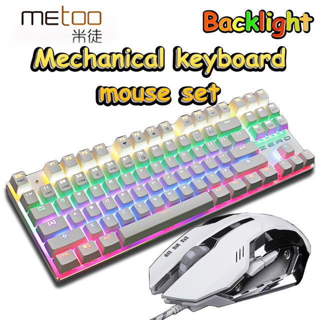 Mechanical Keyboard+Mouse combo set 3200DPI gaming light Russia stickers 2