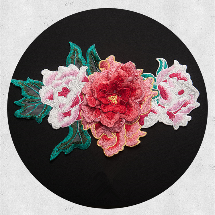 4colors Large 3d Peony Flower Patch Sticker Embroidered