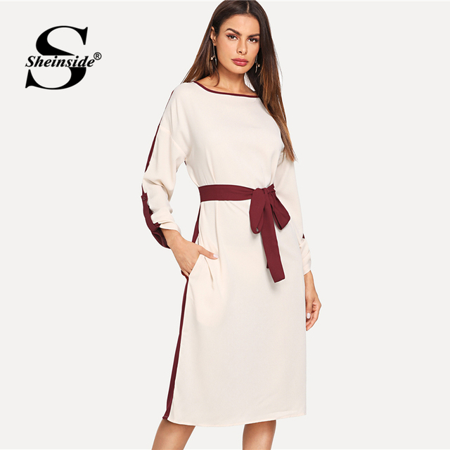 e27c0d21812 Sheinside Colorblock Roll Up Sleeve Straight Elegant Dress Cut and Sew Long  Sleeve Pocket With Belted