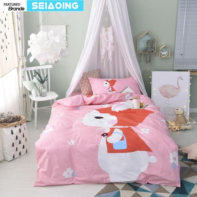 Twin Size Pink Fox Bedding Set 100% Cotton Girl Cartoon Animal 3d Printed  Comforter Cover