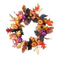 AUGKUN 60cm Artificial Garland Halloween Thanksgiving Maple Wreath Door Hanging Halloween Vine Ornaments Halloween Berry Vine