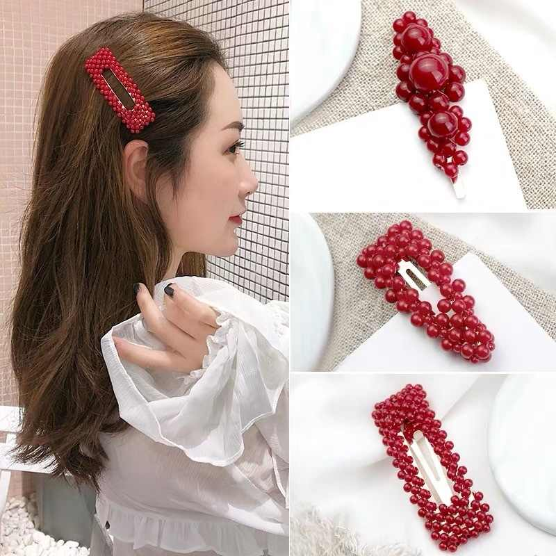 New 9 Styles Fashion Pearl Hair Clip for Women Elegant Korean Design Pearl Metal Hair Clips Hairpin Hair Styling Accessories