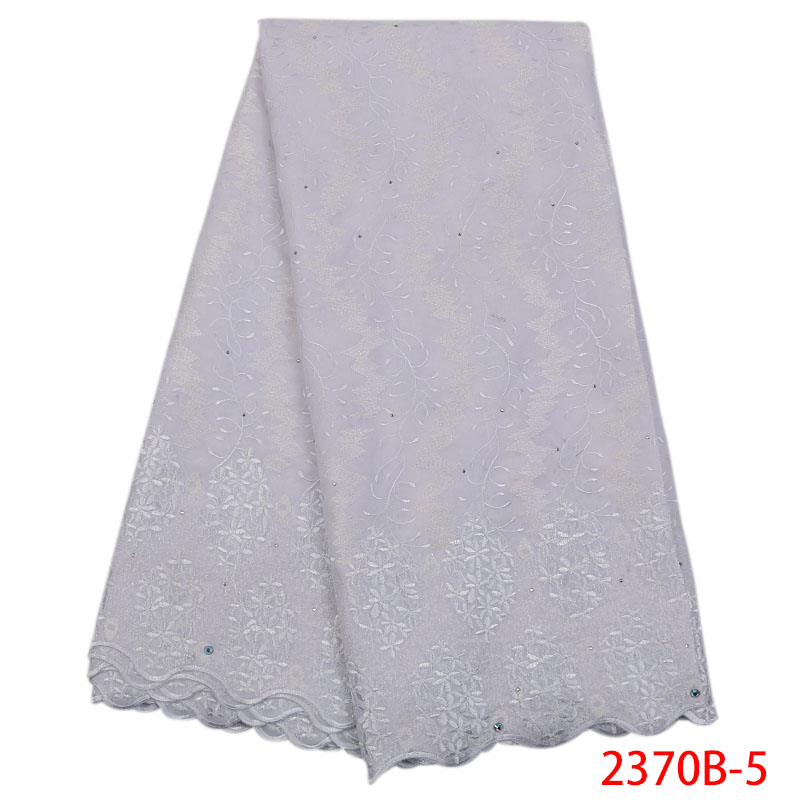 African Dry Lace Fabrics 2019 High Quality Cotton Dry White Laces With Stones Swiss Voile Lace