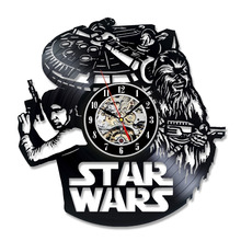 New CD Vinyl Record Wall Clock Star War Cool Design Wall Watch Home Decor Classic Clock Relogio Parede Decorative Wall Clocks