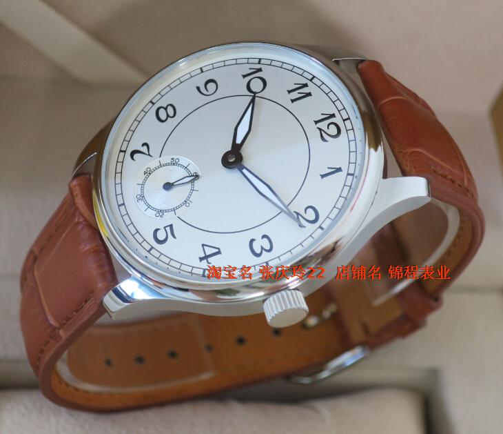 44mm PARNIS White dial Asian 6498 Mechanical Hand Wind movement font b men s b font