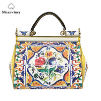 Misanwiney 2018 new superior leather painted printing designer famous brand women bag luxury genuine leather handbags