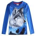 Мальчики волк 3d футболка, синий Одежда для мальчиков одежда, roupas infantil meninos, детская одежда, младенческой