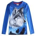 Niños lobo 3d de la camiseta, azul Ropa para niños ropa, infantil roupas meninos, kids wear, enfant