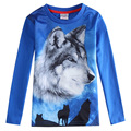 boys wolf 3d t shirt,blue Clothing for boys clothes,roupas infantil meninos,kids wear,enfant