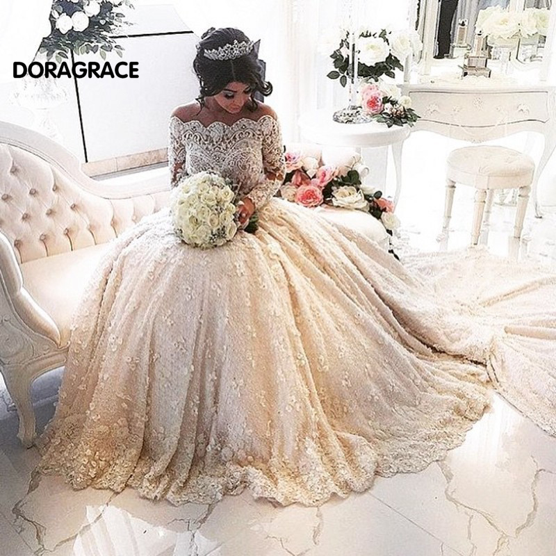Gorgeous Applique A Line Long Sleeves Lace Wedding Dresses Gowns With Cathedral Train DG0068
