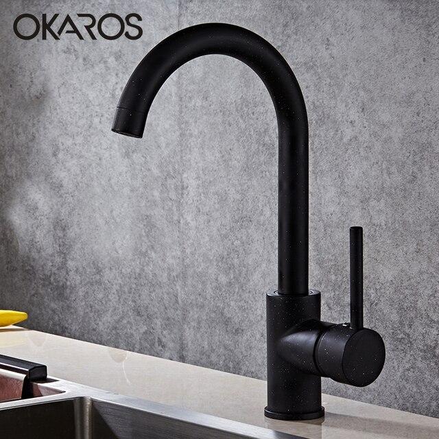 OKAROS ก๊อกน้ำห้องครัวทองเหลืองทองเหลืองก๊อกน้ำ 360 องศาหมุนได้อ่างล้างหน้า Vintage Tap Torneira