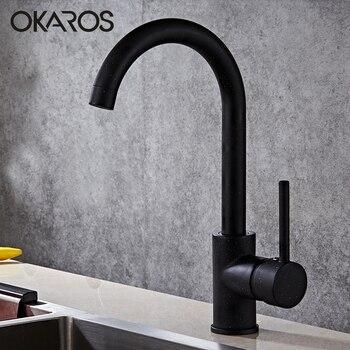 OKAROS Messing Küche Wasserhahn Schwarz Messing Wasserhahn 360 Grad Swivel Einhand Vessel Waschbecken Vintage Küche Mischbatterie Torneira
