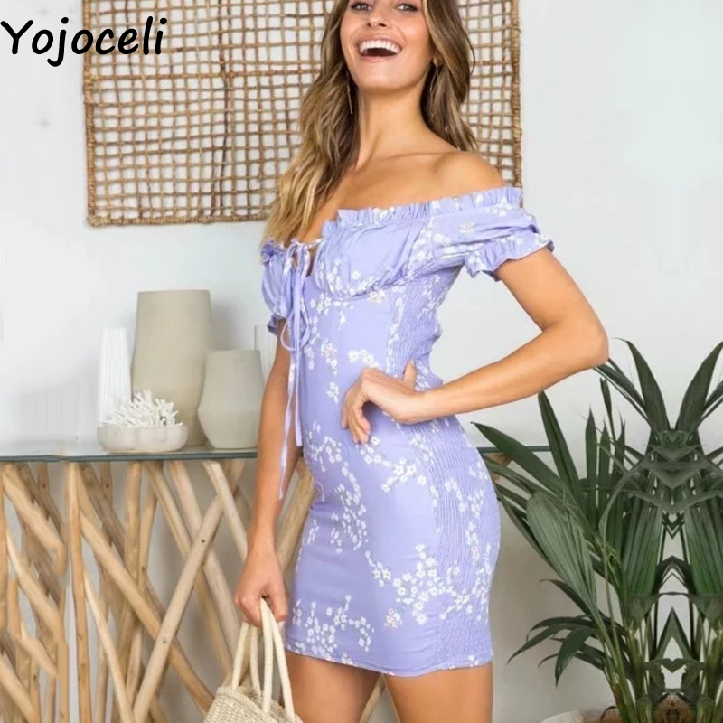 Cuerly Sexy off shoulder ruffle bodycon dress women Summer short party beach dress female vestidos Elegant daily mini dress L5 in Dresses from Women 39 s Clothing