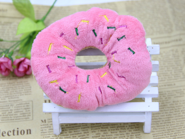13Cm Sightly Pet Chew Cotton Donut Play Toys Lovely Pet Dog Puppy Cat Tugging Chew Squeaker Quack Sound Toy Chew Donut Play Toys 3