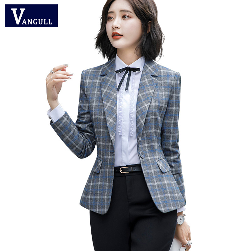 Vangull 3XL Office Lady Casual Style Blazer Soft Comfortable High-quality Plaid Jackets Coats Pocket Women Single Button Coat