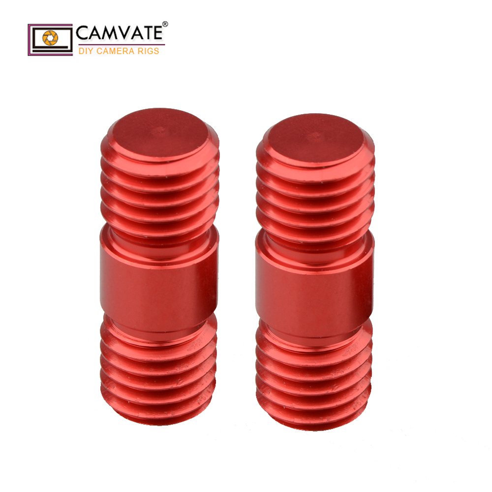CAMVATE M12 Thread Rod Extension Connector for 15mm Rail Support System Black 2 Pieces