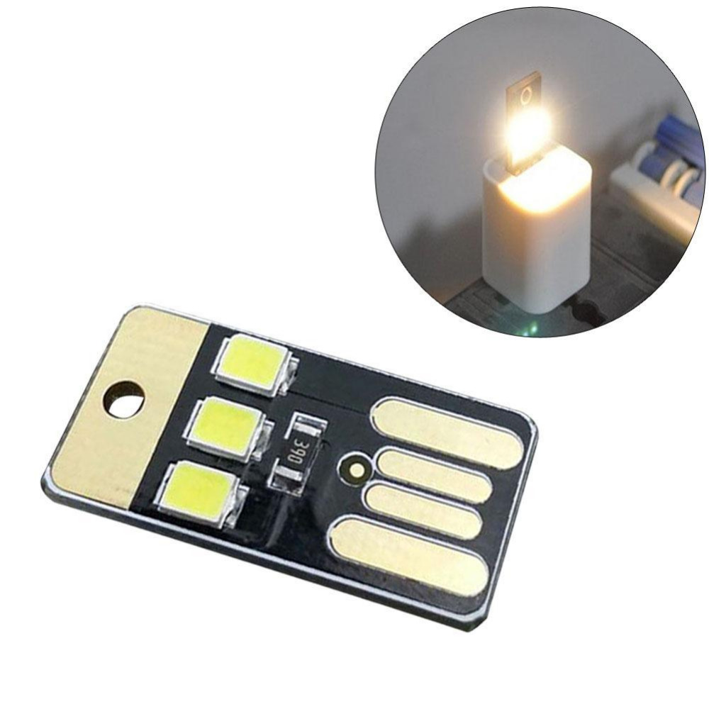 3X Card Lamp Bulb Led Keychain Mini LED Night Light Portable USB Power White FO