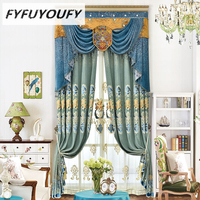 Luxury European Velvet Fabric Curtains For Living Room French Windows With High Grade Embroidery Voile Curtain