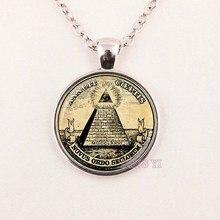 Wholesale Man Vintage symbol masonic illuminati antique print illustration poster pendant NECKLACE Fashion Jewelry