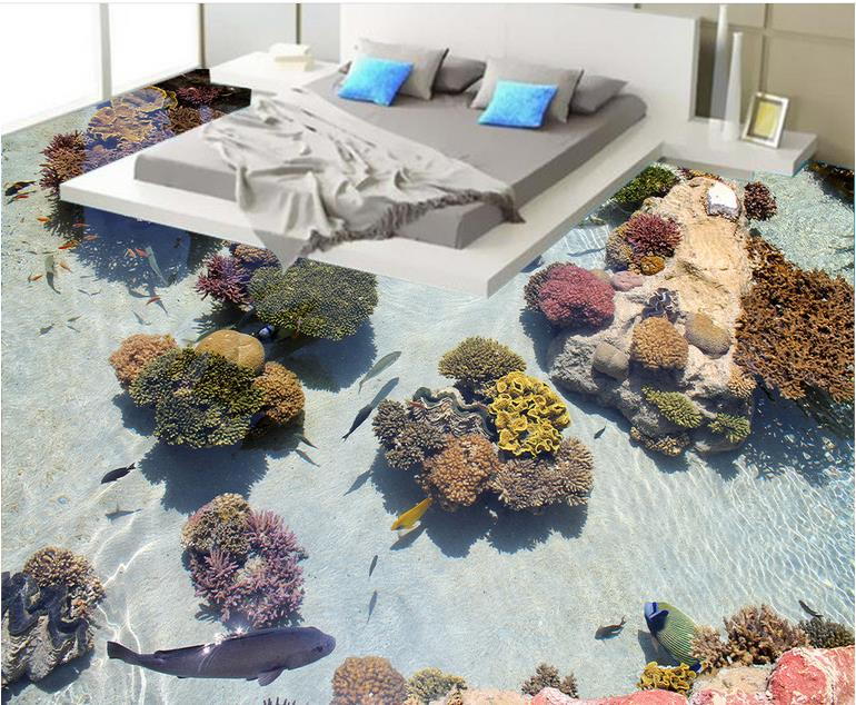 Custom papel de parede 3d floor wallpaper Coral tropical fish self adhesive wallpaper 3d floor painting for living room  beibehang summer beach floor floor murals wall stickers 3d wallpaper for living room pvc floor self adhesive papel de parede 3d