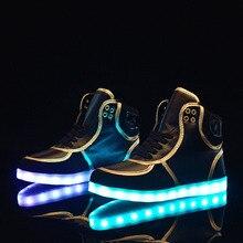 2017 LED Flash Luminous Light Up Shoes 11 LED Color USB Chagring Man unisex High Top Shoes Phnom Penh Soild Unisex Hot Fashion