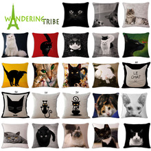 Wandering Tribe New Cartoon Lovely Cat Black White Decorative Cushion Cover Throw Pillowcase Polyester Fabric Home