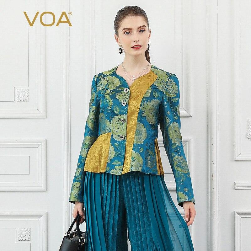 VOA Brocade 100% Silk Vintage Court Elegant Jacket Women Coat Single breasted Ceket Chaquetas Ladies Kurtka Large Size Fall W331