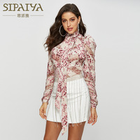 2019 New Spring Summer Sexy Flower Print Tunic Shirt Women Long Sleeve Court Chiffon Bow Tops and Blouses Female Autumn