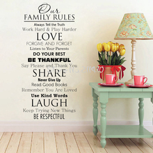Huge Wall Quote Decal Our Family House Rules Home Love Do Your Best Wall Art Vinyl floor stickers home decor vinilos parede A708