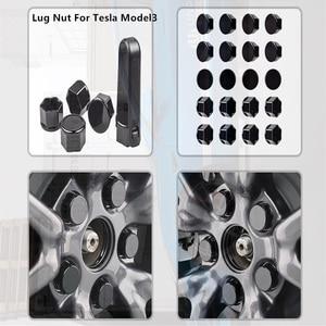 Image 2 - Для Tesla Model 3, автомобильные гайки, гайки для колес, чехлы для гаек глянцевые черные автомобильные аксессуары, колпачок для колес, болт для гаек