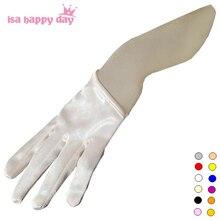 Короткие Дешевые Свадебные перчатки белая слоновья Кость красный черный половина ладони атласные свадебные перчатки для невесты сексуальные свадебные перчатки пальцы Свадебные