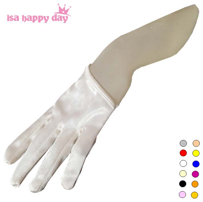 Short Cheap Bridal Gloves White Ivory Red Black Half Palm Satin Wedding Gloves For Bride Sexy Bridal Gloves Fingers Wedding