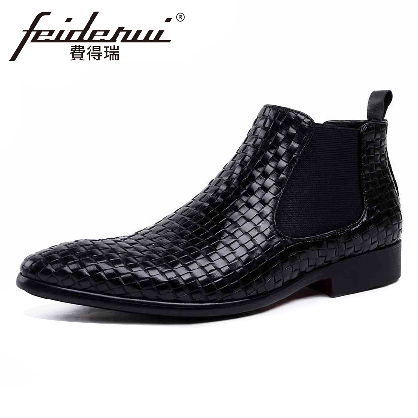 High Quality Italian Genuine Leather Men's Chelsea Ankle Boots Pointed Toe Handmade High-Top Cowboy Riding Man Shoes YMX137 italian visual phrase book