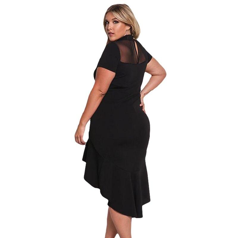 Black Plus Size Party Midi Women Dress