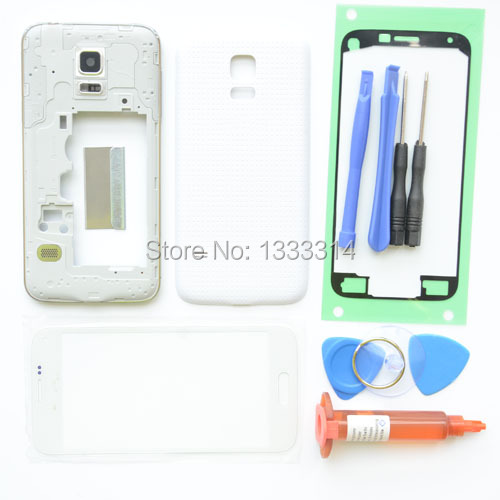 White Front Screen Outer Glass Replacement Parts for samsung galaxy s5 mini G800 full housing set