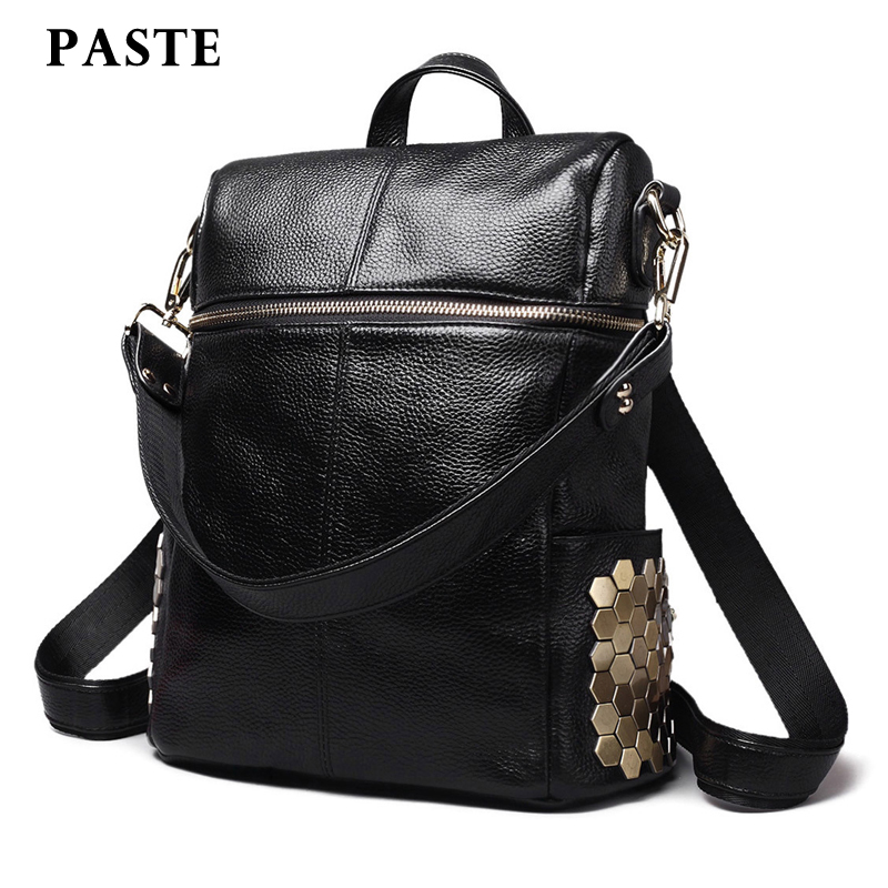 ФОТО PASTE New Large Black Cow Leather Backpack Women For Laptop High Quality School Backpack Travel Large Capacity Mochila Feminina