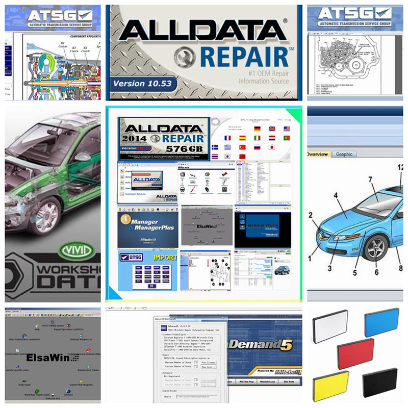 2018 All data auto repair software Alldata 10.53 and Mitchell ondemand software+Vivid workshop data+ATSG+ELSA 24in1TB HDD USB3.0 alldata and mitchell software alldata 10 53v auto repair software mitchell ondemand 2015v vivid workshop data manager plus