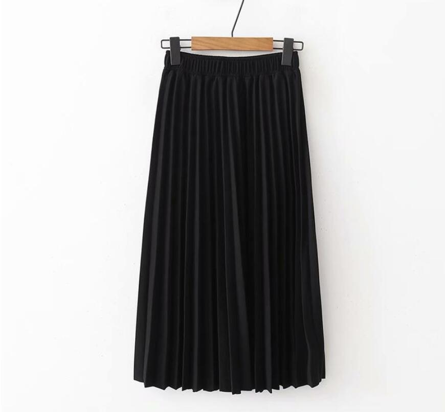 Image 2 - 2019 Spring Summer Women High Waist Skirt Solid Color Pleated Skirt Women Causal Midi Skirts-in Skirts from Women's Clothing
