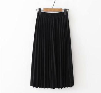 2020 Spring High Waist Pleated Skirt Women Black Causal Midi Skirts Plus Size Elastic Waist 2