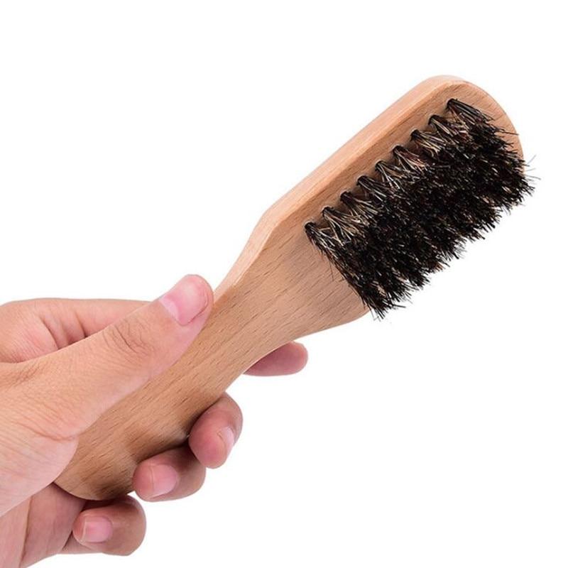 1 Pc Beard Brush Beech Handle Boar Bristle Hairbrush Anti-static Hairdressing Scalp Massage Comb