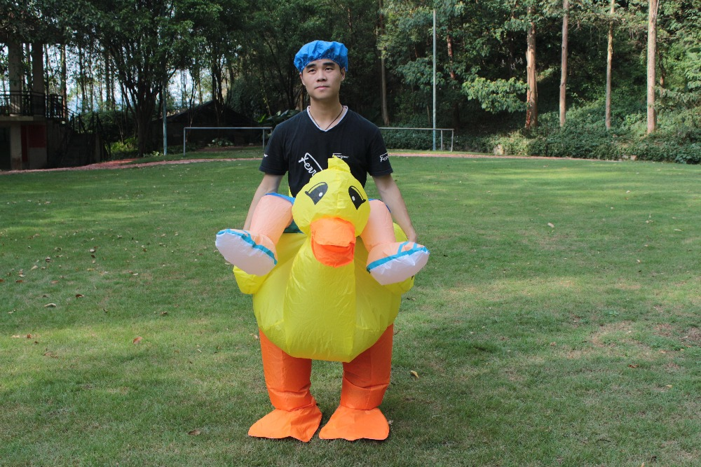 NEW! Halloween Inflatable Yellow Duck Costume For Adult Animal Cosplay Inflatable Costume Party Christmas Funny Dress For Women