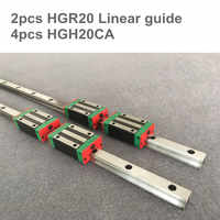 2pcs linear guide rail HGR20 -500 1500 2500mm  with 12 pcs of linear block carriage HGH20CA  CNC parts