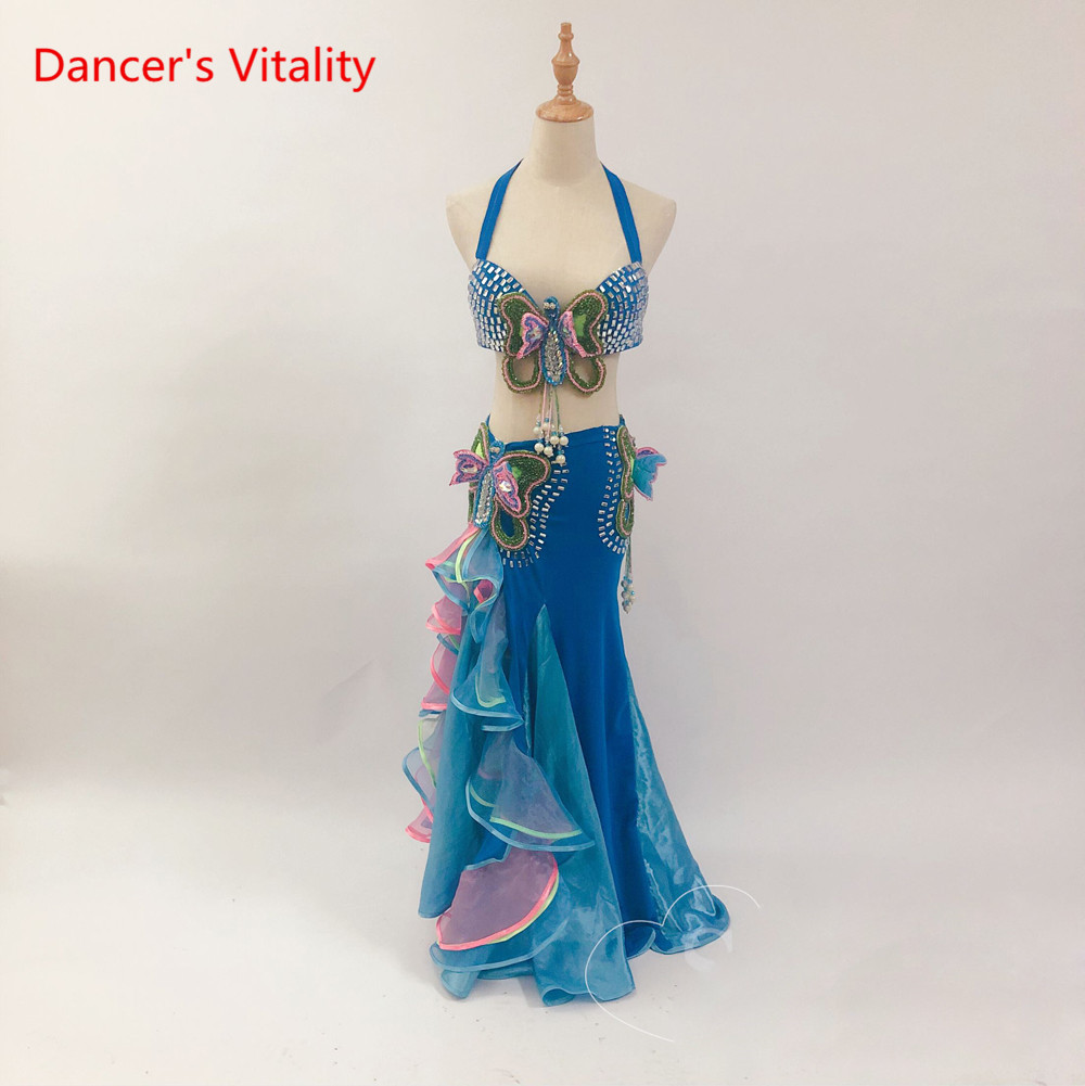New Belly Dance Performance Costume Outfit 2Pcs of Bra/&Belt 34B 36B 38B 10 Color