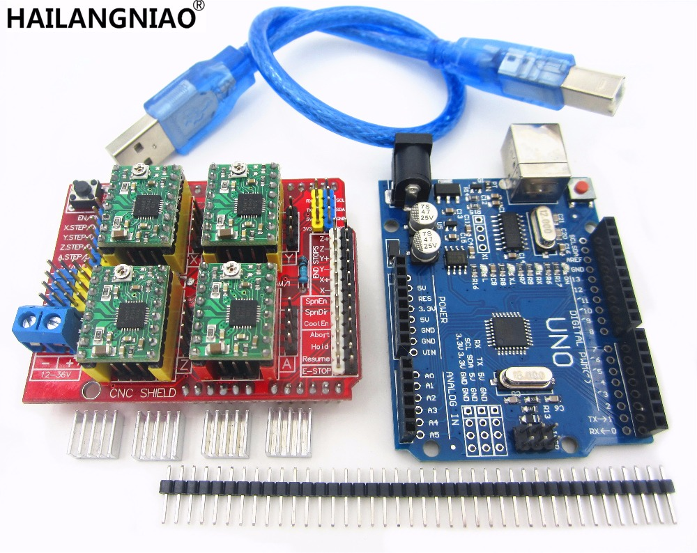 Cnc Shield V3 Engraving Machine 3D Printer 4pcs A4988 Driver Expansion Board UNO R3 With USB