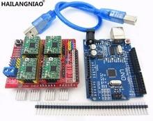 Щит с ЧПУ V3 гравировальный станок 3D-принтеры + 4 шт. A4988 Драйвер Плата расширения + UNO R3 с USB кабель