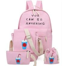 2017 печать Школьные сумки для подростков Обувь для девочек модные женские туфли рюкзак милый студент Дорожные сумки Mochila 4 шт./компл. XM12